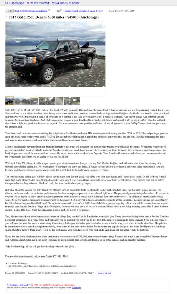The Best Craigslist Car AD Ever SpeedShopperscom - May best craigslist ad car ever